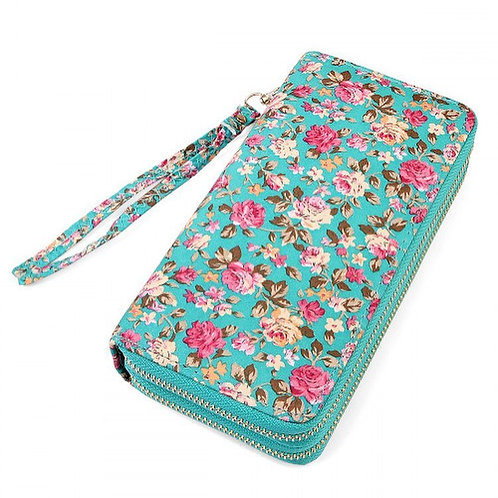 Turquoise Floral Double Wallet