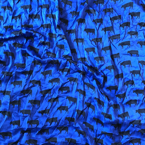 Black Cows on Blue Scarves
