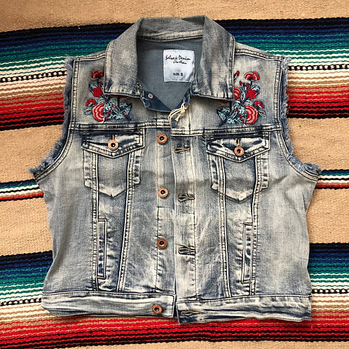 Jean Vest with Embroidered Details XL