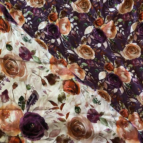 "36"" Purple & Rust Floral Scarves"
