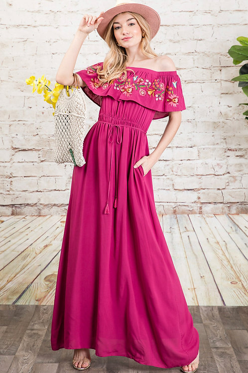 Embroidered Ruffle Top Maxi Dress