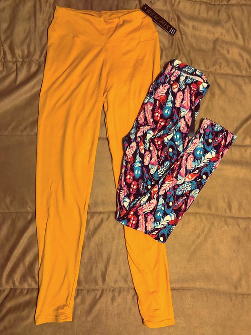 Mustard and Feather Leggings