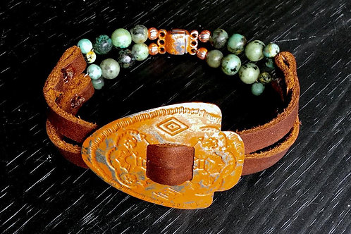 Arrowhead Bracelet with African Turquoise