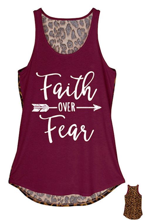 Faith over Fear Leapord Backed Tank S