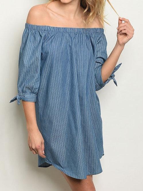 Striped Denim Dress/Tunic S/M