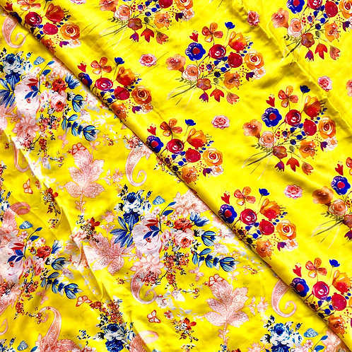 """44"""" Yellow Floral Scarves"""