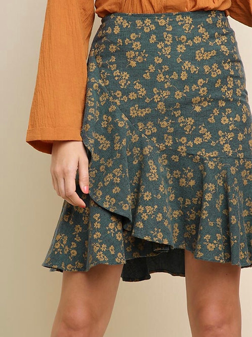 Floral High-Waisted Skirt