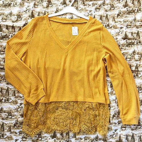 Waffle-knit & Lace Top