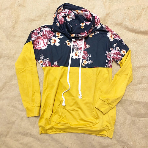 Yellow Floral Cowlneck Sweater