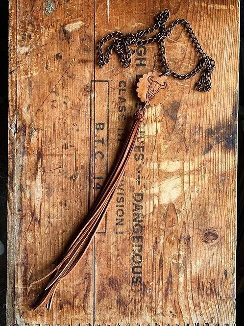 Buffalo Skull Fringe Necklace