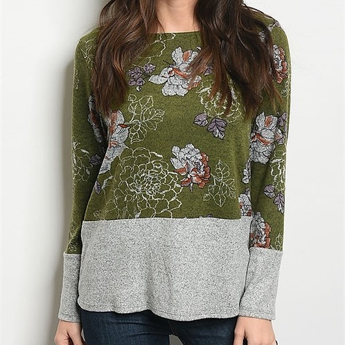 Olive Floral Sweater