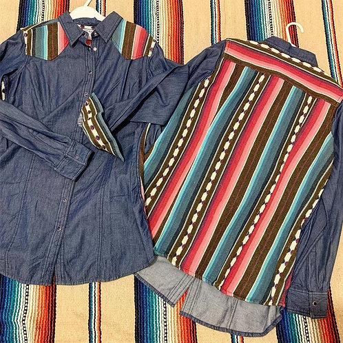 Large Denim and Stripes Snap Front Shirt