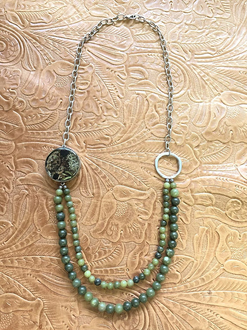 Moss, Lichen & Canadian Jade Necklace