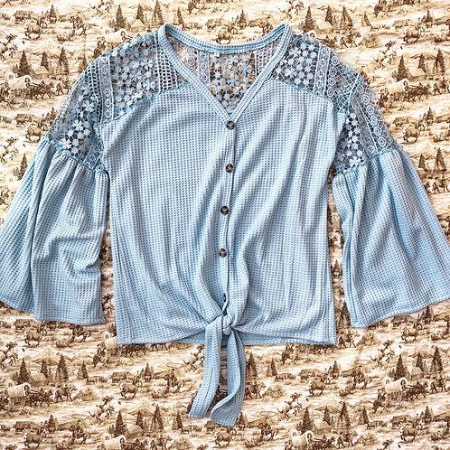 Crochet Detail Waffleknit Top S/L