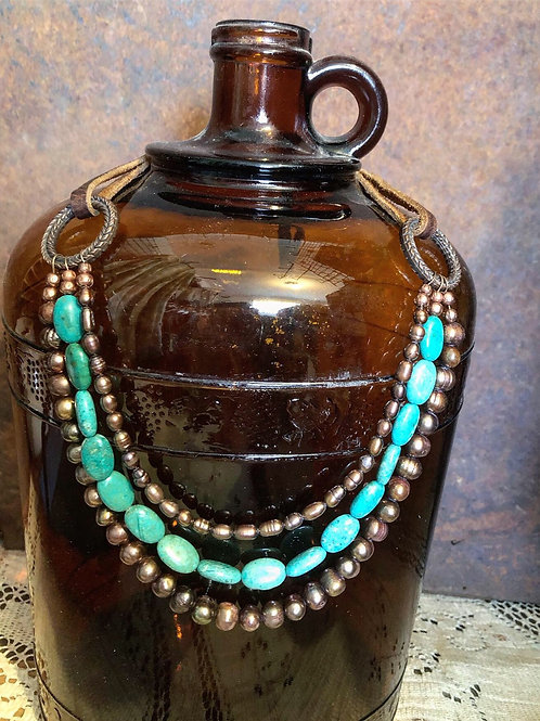 Natural Turquoise & Bronze Pearl Necklace