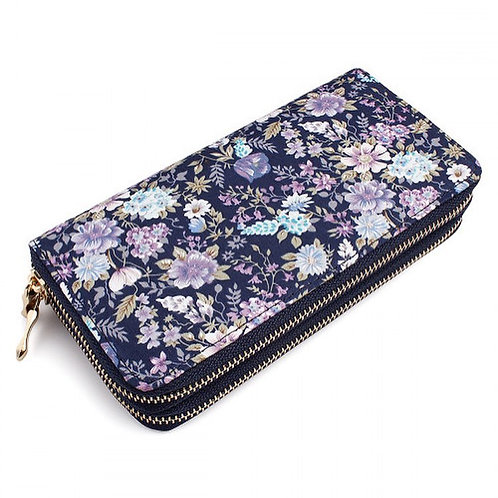Navy Floral Double Wallet