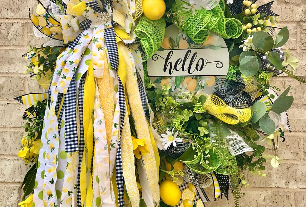 Lemon Ragbow Wreath