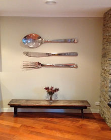 Oversize decorative cutlery.