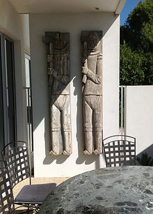Pair of eternal wall carvings.