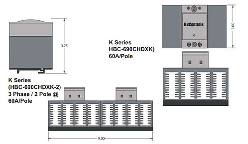 HBC-690CHDXK-2 DC Input, 60 Amp / 48-660Vac Two-Pole Solid State Relay Assembly