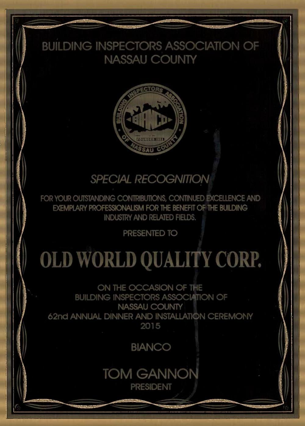 Building Inspectors Association Recognizes OWQC
