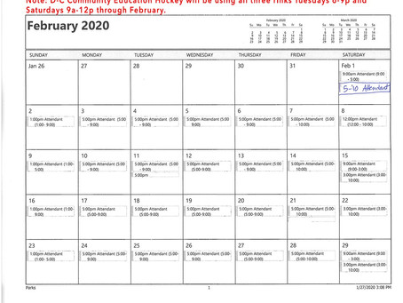 February 2020 Schedule for Mooers Park Ice Rink