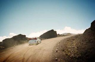 Vogue Nippon Production car on hill. La