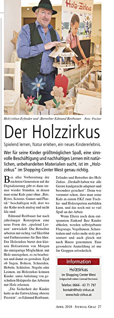 Holzzirkus im Shopping Center West Grz