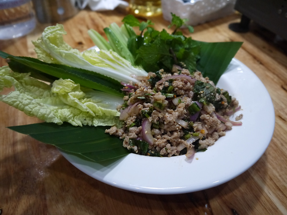 Laab Moo.  Spicy pork salad with herbs