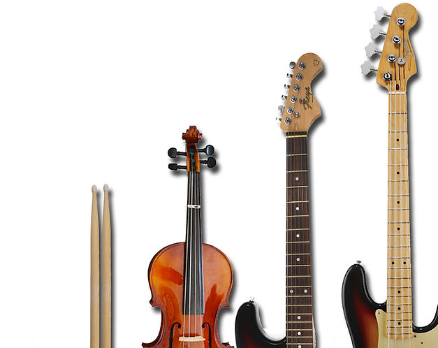 Close-up of a set of drumsticks, a fiddle, electric guitar and bass guitar side byside