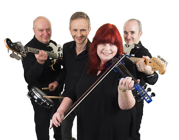 Studio portrait of The Bass Rock Ceilidh Band featuring two guitarists, drummer and lead fiddler