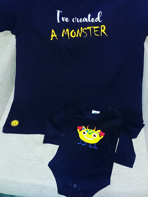 """T-Shirt e babygrow """"Criei um monstro"""""""