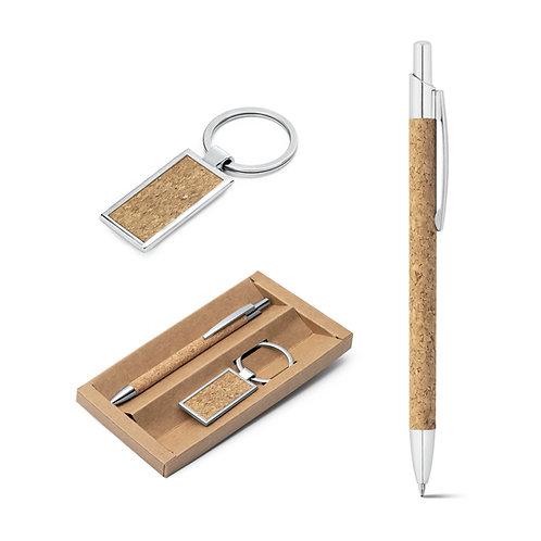 Caneta + porta chaves em cortiça