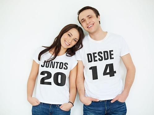 "T-Shirts Casal ""Juntos desde"""