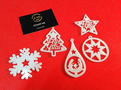 Ornamentos de Natal em Acrílico branco