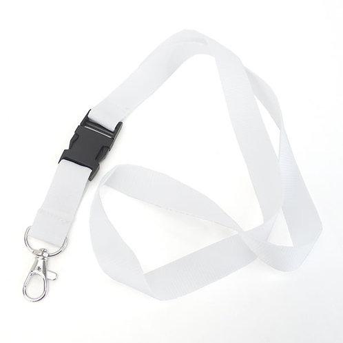 Fita Lanyard porta-chaves em cetim branco c/ clip