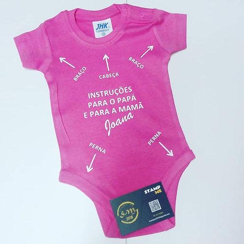 Babygrow (Body) com instruções de uso