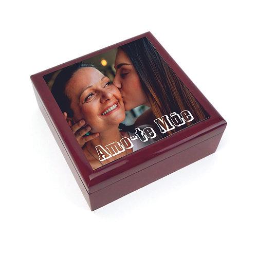 Caixa joias madeira + Azulejo 15cm