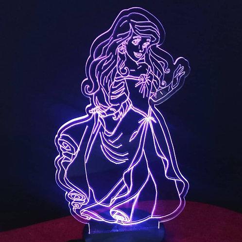 Candeeiro Acrílico Princesa Ariel