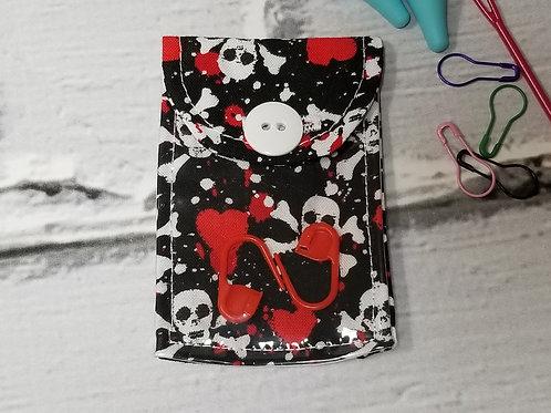 Stitch Marker Pouch - Hearts & Skulls