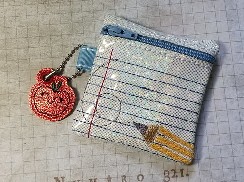 Small Embroidered Zipper Pouch - Back to School