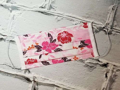 Fabric Dust Mask- Pink and Red Floral