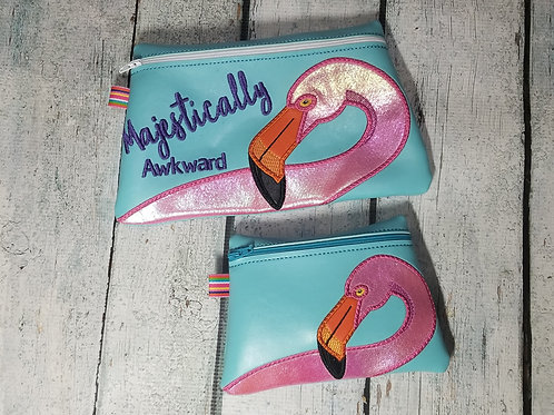 Embroidered Zipper Pouch - Flamingo