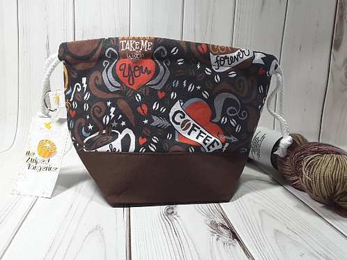 Small Drawstring Project Bag - Coffee Forever