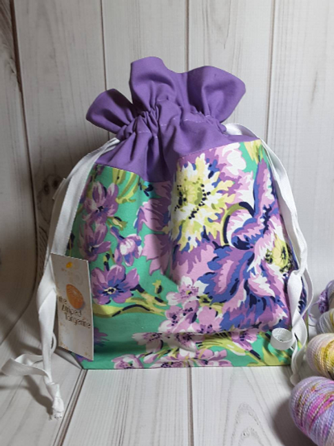 Drawstring Project Bag - Green & Purple Floral