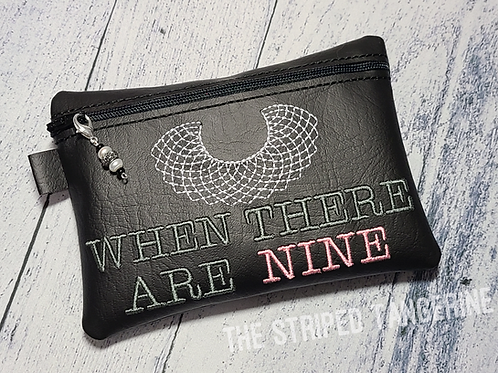Embroidered Zipper Pouch - Nine