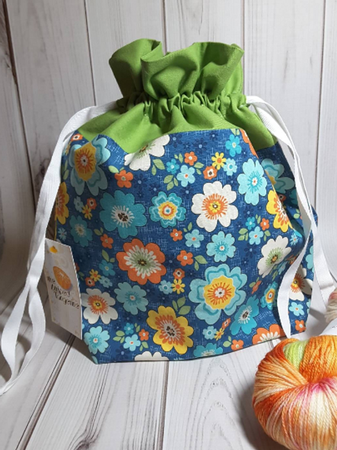 Drawstring Project Bag - Retro Floral