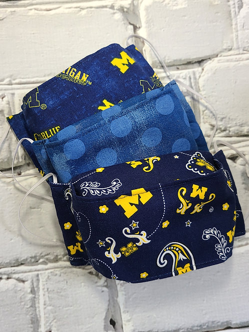 3D Fabric Dust Mask - UofM Childrens 3 Pack