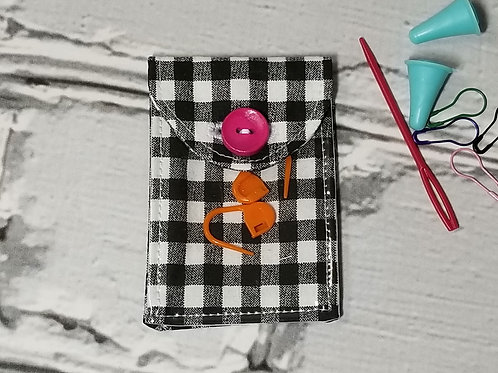 Stitch Marker Pouch - Black & White Plaid