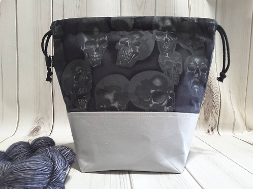Medium Drawstring Project Bag - Smoke Skulls